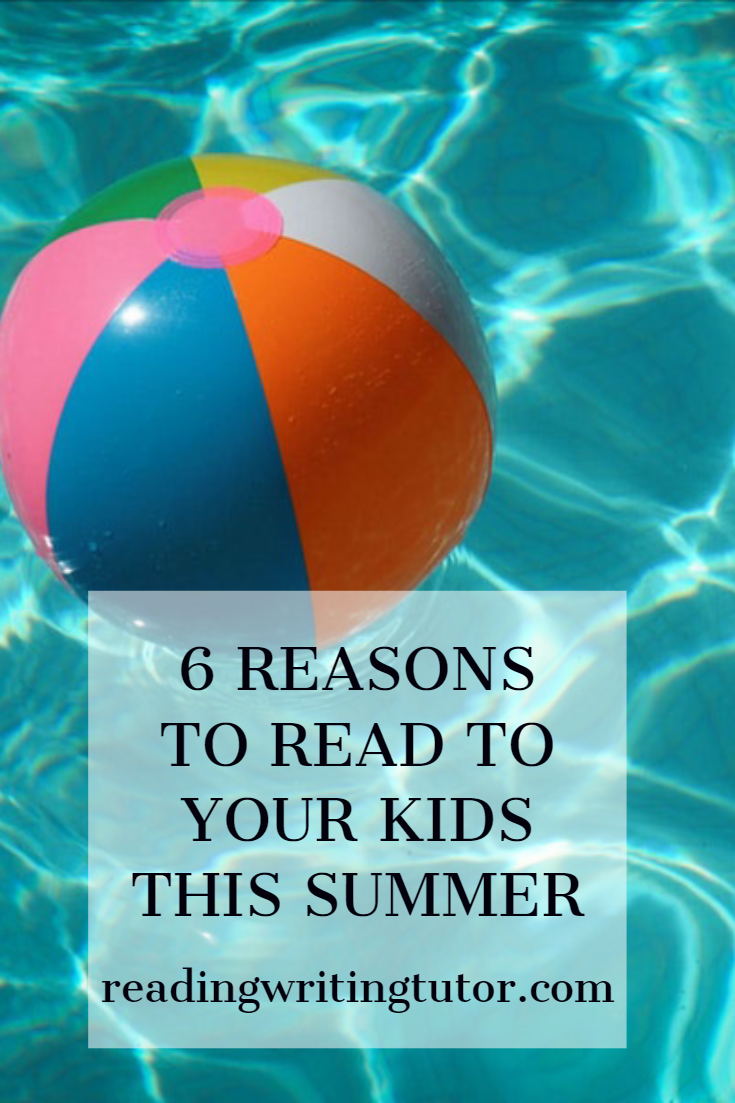 Beach ball floating in a sunny swimming pool. Caption: 6 Reasons to Read to your Kids This Summer